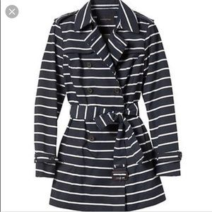XXS petite navy & white banana republic coat